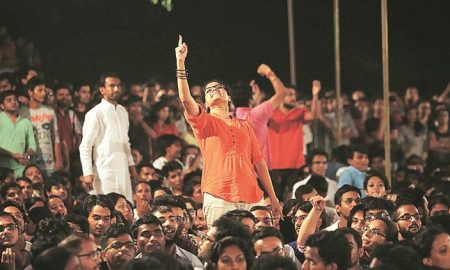 Students crowd at the JNU