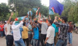 NSUI celebrates victory in DUSU elections