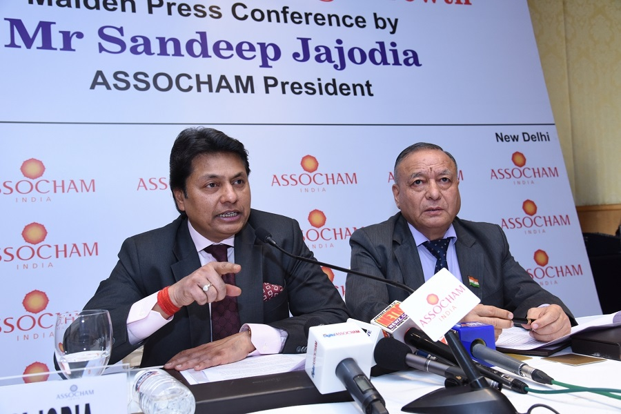 ASSOCHAM President Sandeep Jajodia addresses a press conference in New Delhi on Feb 22, 2017. Also seen ASSOCHAM Secretary General DS Rawat. (Photo: IANS)
