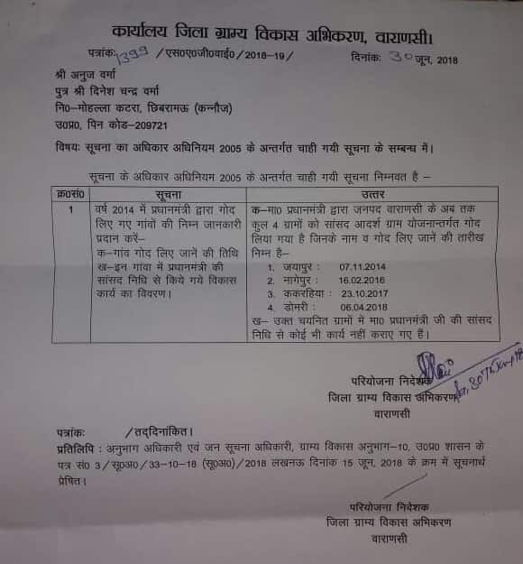 RTI Reply Modi Village