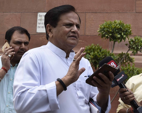 NEW DELHI, INDIA - APRIL 27: Senior Congress Leader and Member of Parliament Rajya Sabha Ahmed Patel arrives to attend the Parliament Session, on April 27, 2016 in New Delhi, India. Seeking to corner Congress over allegations of corruption in the AgustaWestland deal, BJP on Wednesday sought an explanation from Congress, while the opposition party hit back, asking why the Modi government had cancelled the process of blacklisting the firm in question. Lok Sabha adjourned till 2:05 pm. (Photo by Sonu Mehta/Hindustan Times via Getty Images)