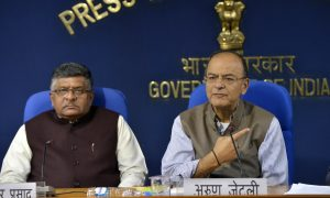 New Delhi: Union Finance Minister Arun Jaitley and Union Minister for Electronics and Information Technology Ravi Shankar Prasad during a press conference in New Delhi on Nov 22, 2017. (Photo: IANS)