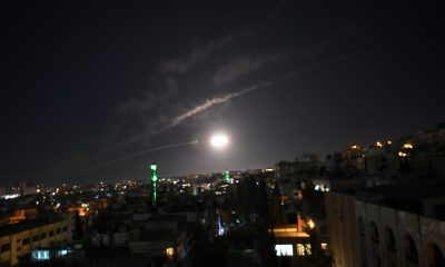 DAMASCUS, Dec. 25, 2018 (Xinhua) -- An air defense missile is seen in the sky over Damascus, Syria, on Dec. 25, 2018. The Syrian air defenses were triggered on Tuesday evening by what appeared to be a missile attack around the capital Damascus, state TV reported. (Xinhua/Ammar Safarjalani/IANS)